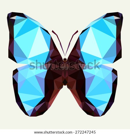 Geometric blue butterfly with many triangles - stock vector