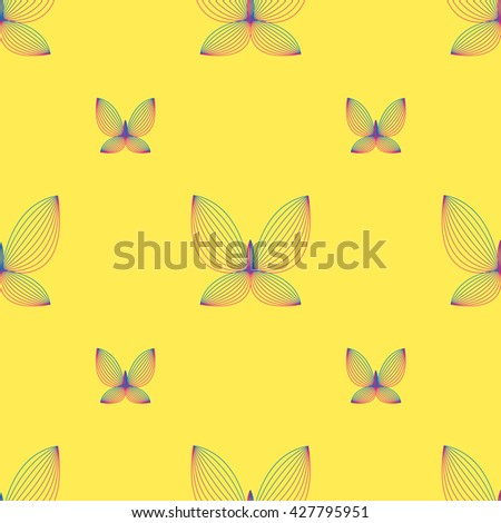 geometric butterfly seamless pattern. Fashion graphic. Background design. Modern stylish abstract texture. Template for prints, textile, wrapping and decoration, wallpaper. Vector illustration. - stock vector
