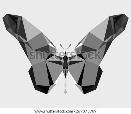 Geometric butterfly with many triangles (gray paper) - stock vector
