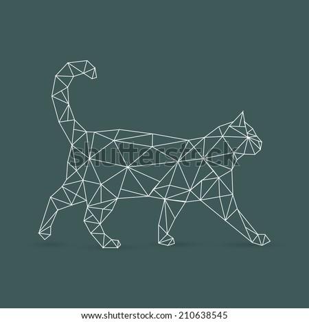 Geometric cat - vector illustration - stock vector