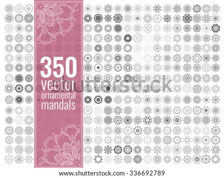 Geometric circular ornament set. Isolated vector mandalas. Perfect set for any kind of design, logo, wedding, birthday and other holiday, kaleidoscope, medallion, yoga, india, arabic - stock vector
