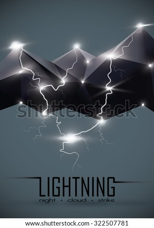 Geometric cloud and Lightning - stock vector