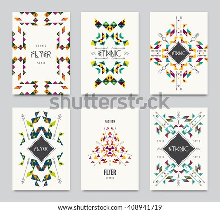 Geometric colorful ethnic flyers. Vector abstract background templates - set of modern elements for brochure, poster, banner, greetings card, cover design. - stock vector