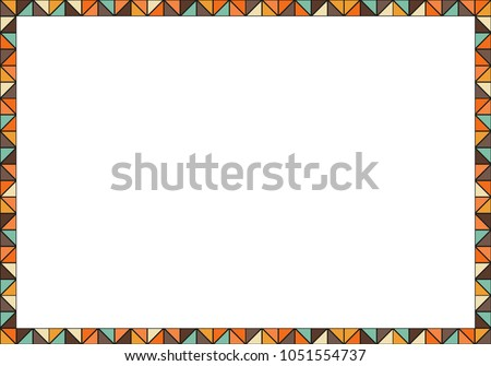 geometric colorful frame made of multicolored triangles brown orange blue red and
