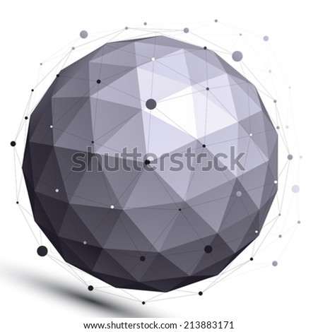 Geometric contrast spherical figure with wire mesh, modern science and technology element. - stock vector