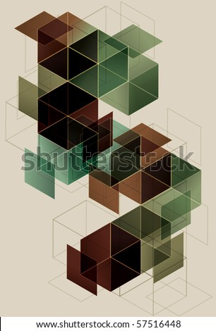 Geometric Cube Background - stock vector