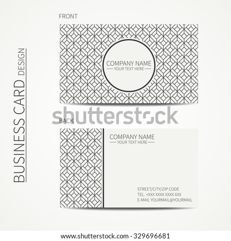 Geometric cube monochrome business card template for your design. Pattern with rhombuses, square. Optical illusion effect. Business card. Calling card. Vector design. - stock vector