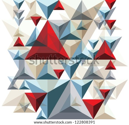 Geometric 3d seamless background with vertical repeatable element, vector wallpaper or website background. - stock vector