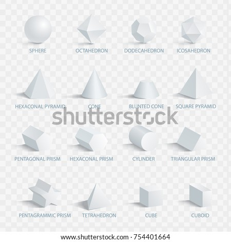 Geometric 3D shapes with names vector illustration set isolated on transparent background. Collection of geometry