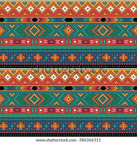 Geometric decorative seamless background. Colorful abstract ethnic pattern.