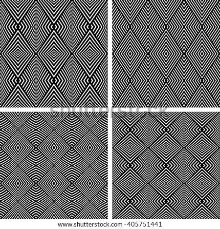 Geometric diamonds patterns. Seamless textures set. Vector art. - stock vector