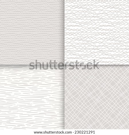 Geometric doodle seamless patterns set. Neutral textures. Vector illustration - stock vector