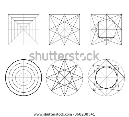 Geometric drawing, circle design, square design. Vector illustration. Hexagons, sacred geometry. Set of figures line art