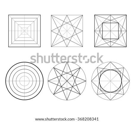 Geometric drawing, circle design, square design. Vector illustration. Hexagons, sacred geometry. Set of figures line art - stock vector