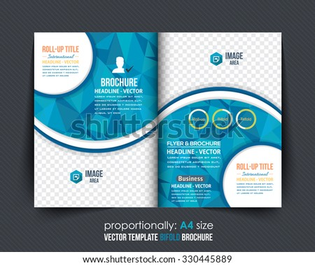 Geometric Elements Blue Colors Business Bi-Fold Brochure Design. Corporate Leaflet, Cover Template - stock vector