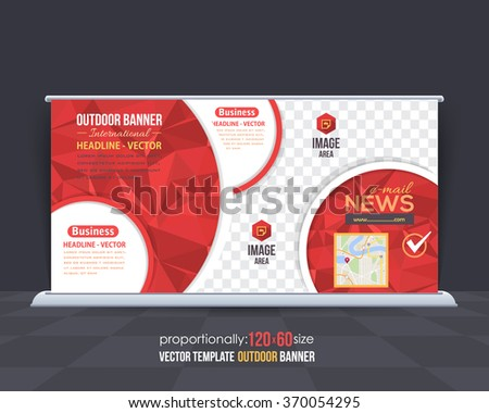 Geometric Elements Red Colors Outdoor Advertising Design, Horizontal Banner, Background Template  - stock vector