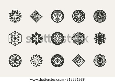 Geometric emblems set. Vector mosaic arabic ornamental symbols