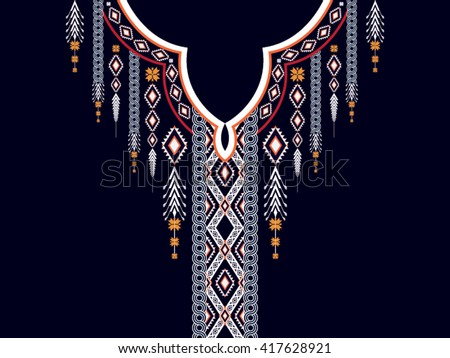 Geometric Ethnic oriental pattern traditional .Floral necklace embroidery design for fashion women.background,wallpaper,clothing and wrapping.