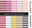 Geometric Faceted Triangle Patterns in Berry Pinks, Reds, White and Classic Neutral Colors. Pattern Swatches made with Global Colors - easy to change all patterns in one click. - stock vector