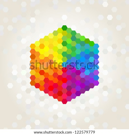 geometric figure, the background color of the rainbow - stock vector