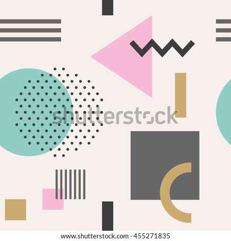 Geometric figures seamless pattern design. Vector illustration.