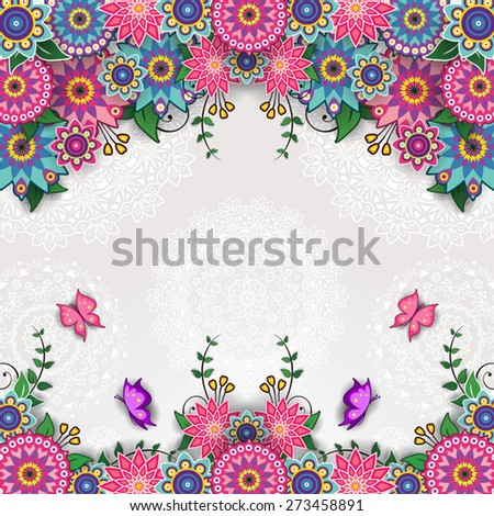 Geometric floral background with butterflies - stock vector