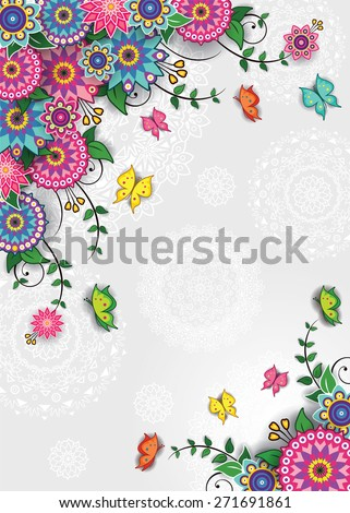 Geometric floral background with butterflies-transparency blending effects and gradient mesh-EPS 10 - stock vector