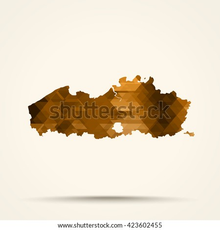 Geometric Gold map of Flanders flag colors