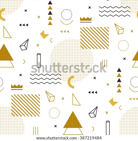 Geometric Gold Pattern Fashion Wallpaper Memphis 387219484