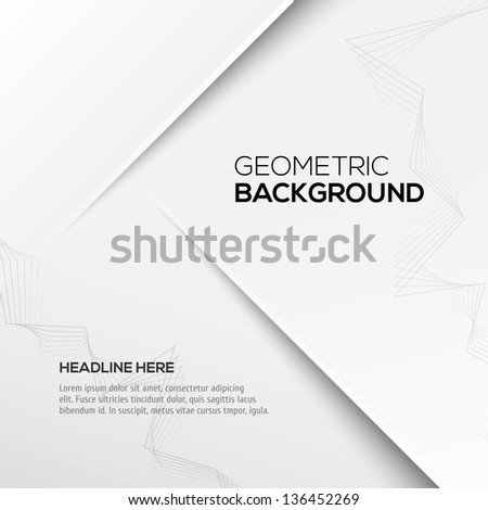 Geometric gray 3D background - stock vector