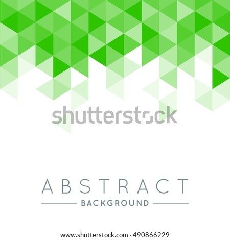 Geometric Green and White Abstract Vector Background for Use in Design. Modern Polygon Texture with Text.