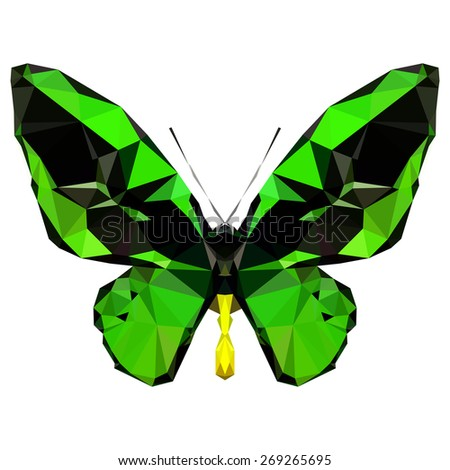 Geometric green butterfly with many triangles - stock vector