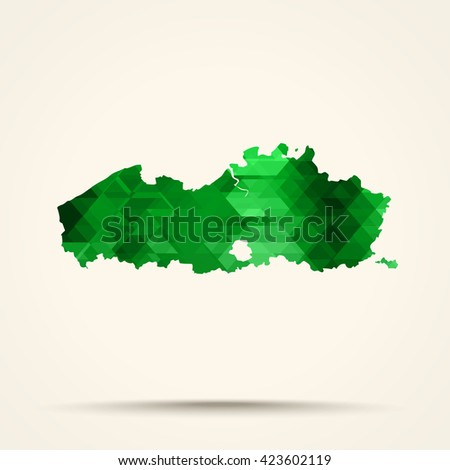 Geometric green map of Flanders flag colors