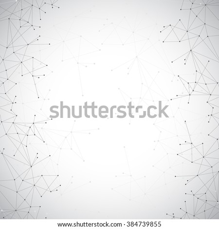 Geometric grey background molecule and communication . Connected lines with dots. Vector illustration. - stock vector