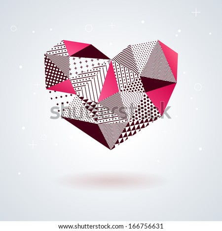 Geometric heart for Valentines Day design. Mosaic. Vector illustration. Abstract polygonal heart. Love symbol. Low-poly colorful style. Romantic element for Valentines day. - stock vector