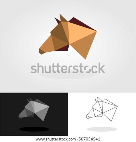 GEOMETRIC HORSE HEAD LOGO EMBLEM TEMPLATE