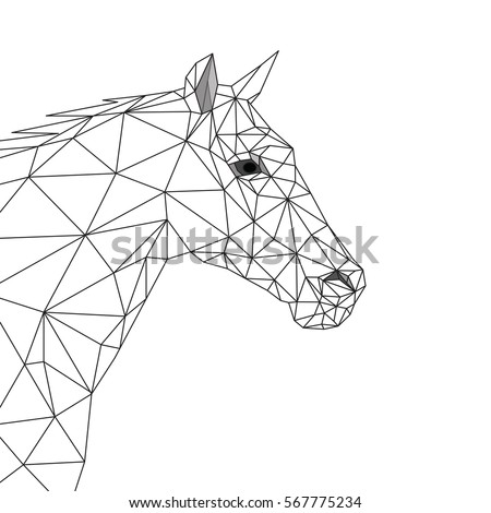 Geometric Horse Side View Black Lines 567775234 on simple tattoo designs