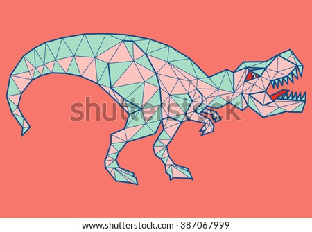Geometric hungry tyrannosaurus with many triangles - stock vector