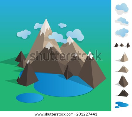 Geometric illustration of mountain landscape with lake, colourful with used elements set like cloud, mountains, lake - EPS - stock vector