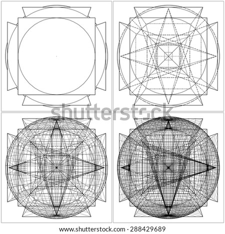 Geometric Intersection Of Sphere And Six Pyramids Vector 41. Intersection Of Sphere And Six Pyramids From Simple To The Complicated Shape. - stock vector