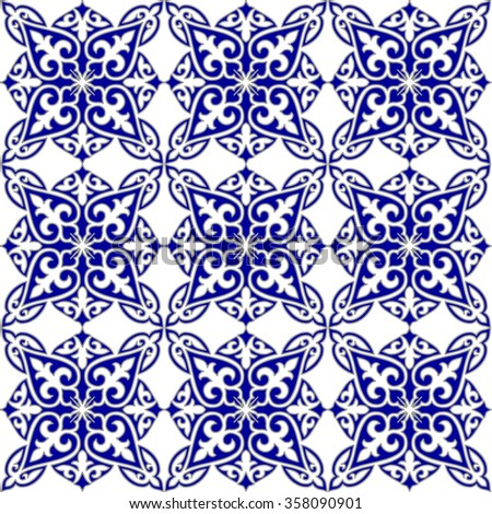 Geometric Islamic Seamless Pattern Arabesque blue and white