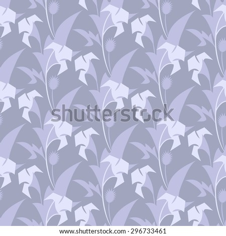 Geometric leaves and flowers. Stylized flower datura. It can be used for wallpapers and fabric.