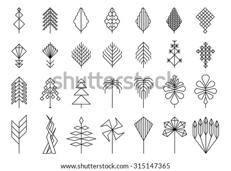 geometric leaves and trees, hipster elements for design and logo - stock vector