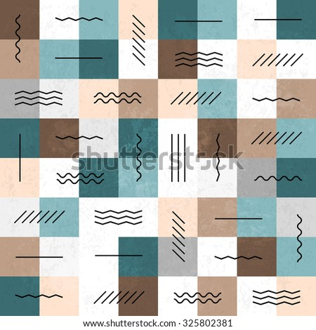 Geometric lines and squares seamless pattern. Retro colors. Textured layers easy editable - stock vector