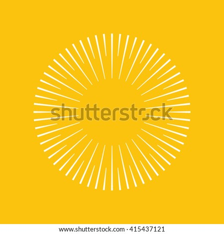 Geometric lines in circle or round shape.Stylized sun or fireworks.Rays radiating from a central object or source of light.Starburst shape.Light rays of burst on yellow background.Vector illustration.