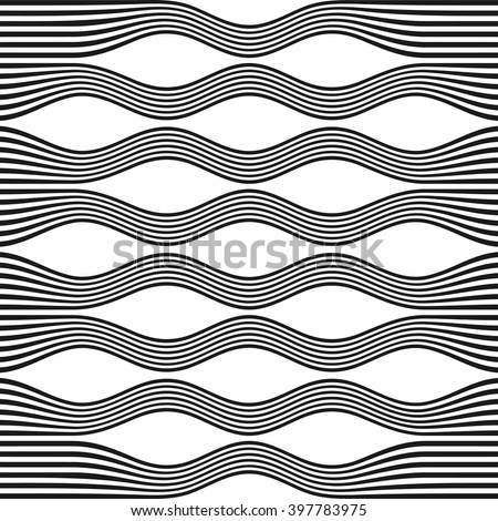 Geometric lines seamless pattern. Modern abstract wavy lines background. Cover template. Wall print design. Striped fabric decor.