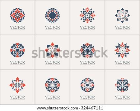 Geometric logo template set. Vector arabic ornamental symbols - stock vector