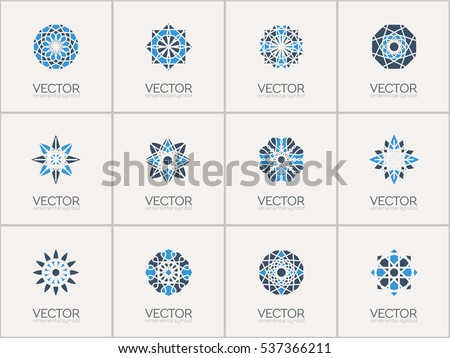 Geometric logo template set. Vector mosaic arabic ornamental symbols