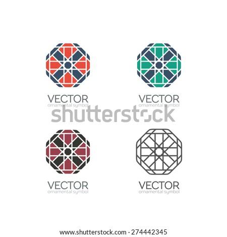 Geometric logo template set. Vector ornamental symbols - stock vector