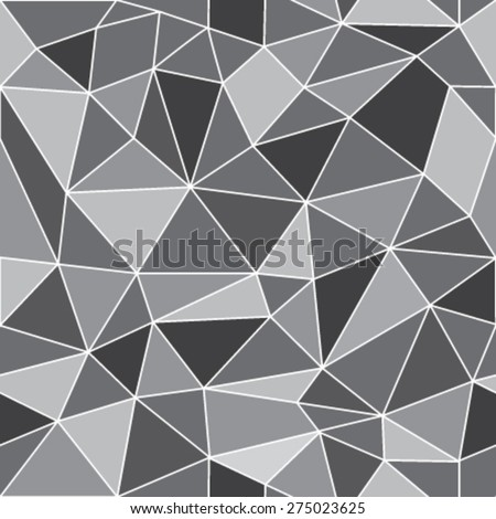 Geometric low poly graphic repeat pattern made out of triangular facets in shades of grays. Vector pattern. - stock vector